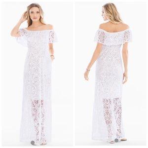 White Off The Shoulder Burnout Maxi Dress Size M